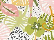 BN Doodleedo 220721 HIDE AND SEEK Gyerekszobai nagymacskák bújócskáznak a dzsungelben fehér bézs zöld szines tapéta