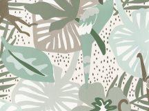BN Doodleedo 220722 HIDE AND SEEK Gyerekszobai nagymacskák bújócskáznak a dzsungelben fehér bézs zöld barna szürke tapéta