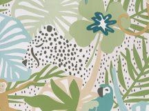BN Doodleedo 220723 HIDE AND SEEK Gyerekszobai nagymacskák bújócskáznak a dzsungelben fehér bézs zöld szines tapéta