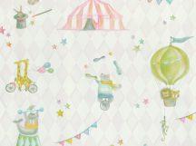 BN Doodleedo 220740 JOIN THE CIRCUS Gyerekszobai cirkusz motívumok fehér bézs pink szines tapéta