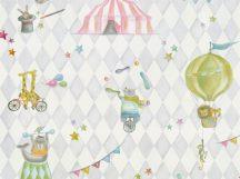 BN Doodleedo 220741 JOIN THE CIRCUS Gyerekszobai cirkusz motívumok fehér szürke pink szines tapéta