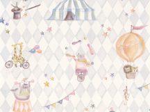 BN Doodleedo 220742 JOIN THE CIRCUS Gyerekszobai cirkusz motívumok krém szürke ezüst szines tapéta