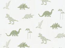 BN Doodleedo 220780 DINOZOO Gyerekszobai dinopark fehér zöld tapéta