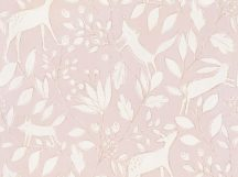 BN Doodleedo 220791 DEER Gyerekszobai erdei állatok lombok között rejtőzve rózsaszín bézs fehér tapéta