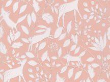 BN Doodleedo 220792 DEER Gyerekszobai erdei állatok lombok között rejtőzve rózsaszín/pink/hússzín bézs fehér tapéta