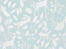 BN Doodleedo 220793 DEER Gyerekszobai erdei állatok lombok között rejtőzve kék türkiz bézs fehér tapéta