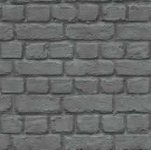 Rasch Kidsclub 2014, 226744 Natur meszelt téglafal 3D sötétszürke fekete tapéta