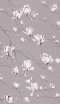 Rasch Textil Jaipur 227504 ágak virágok lila ezüstszürke fehér tapéta