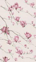 Rasch Textil Jaipur 227542  ágak virágok világos krémfeér antracit eperszín tapéta
