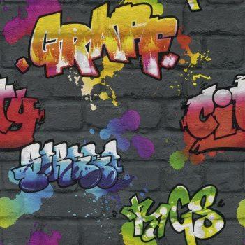 Rasch Kids & Teens III, 237801 Gyerekszobai Street Style graffiti téglafalon antracit szines tapéta