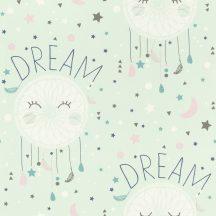 Rasch Bambino XVIII 248760 gyerekminta éjszakai álom hárszöld éjkék fehér szürke tapéta