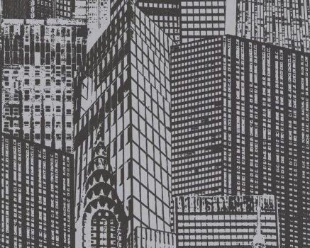 As-Creation Manhattan 2528-21 Grafikus New Yorki felhőkarcolők fekete fémes ezüst tapéta