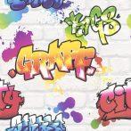 Rasch Kids & Teens III, 272901 Gyerekszobai Street Style graffiti meszelt téglafalon fehér szines tapéta