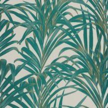 Casadeco 1930, 28927222  FOUGERES Natur stilizált nóvényi díszítés páfrányok bézs zöld arany fényló mintarajzolat tapéta