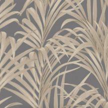 Casadeco 1930, 28929939  FOUGERES Natur stilizált nóvényi díszítés páfrányok sötétbarna/antracit arany fényló mintarajzolat tapéta