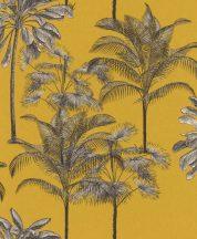EMIL & HUGO Zanzibar 290065 PALM BOUQUET Natur trópusi pálmaliget sáfránysárga krémfehér fekete matt-fényes felületek tapéta