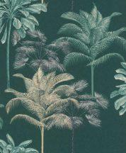 EMIL & HUGO Zanzibar 290089 PALM BOUQUET Natur trópusi pálmaliget smaragdzöld bézsarany/arany fekete matt-fényes felületek tapéta
