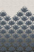EMIL & HUGO Zanzibar 290287 BLOOM DECO Natur trópusi virágzattá alakuló pálmafák kőmosott indigókék homokszín digitális panel