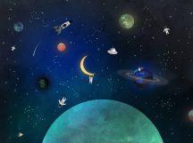 BN Doodleedo 300438 DISCOVERY Gyerekszobai Éjszakai égbolt felfedezőknek éjkék zöld szines falpanel
