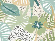 BN Doodleedo 300440 INTO THE WILD XL Gyerekszobai nagymacskák bújócskáznak a dzsungelben fehér bézs zöld szines falpanel
