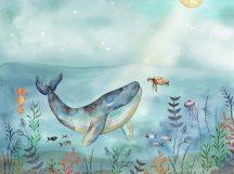 BN Doodleedo 300441 OCEAN FRIENDS Gyerekszobai óriáscet természtes életközössége vízkék vízzöld szines falpanel