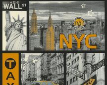 Boys and Girls 6/Faro 4, 30045-1 Gyerekszobai urbánus New York sárga ezüst fekete szürke tapéta