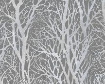 As-Creation New Life/Life 4, 30094-3 Natur fa-faágak krémfehér szürke ezüst fémes csillogó hatás  tapéta
