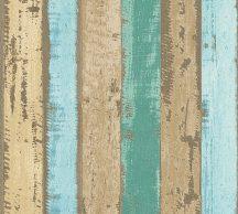 As-Creation Wood'n Stone 30258-2 Natur Faminta szines deszkapalánk bézs kék barna zöld tapéta