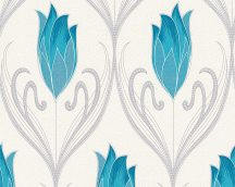 As-Creation New Orleans 30318-3 Virágos nagyformátumú díszítőminta fehér türkizkék ezüst fémes csillogó hatás tapéta
