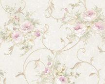 As-Creation Romantica 3, 30420-2 Virágos romantikus díszes indák metszett minta /rózsa/ rajzolat  krém zöld rózsaszín/lila tapéta