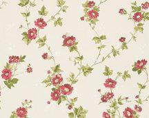 As-Creation Romantica 3, 30428-4 Romantikus virágos díszítőminta krém zöld kárminpiros tapéta