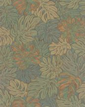 Marburg Casual 30434  natur botanikus levélmintázat zöld barna arany rézszín tapéta