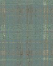 Marburg Casual 30437 geometrikus vonalakból kialakított kockás rácsminta zöld zöldeskék rézszín arany tapéta