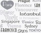Boys & Girls 6, 30467-1 Gyerekszobai városnevek krémfehér szürke fekete tapéta