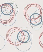 Rasch My Moments 305845 Grafikus modern körök mintázata törtfehér szürke piros kék tapéta