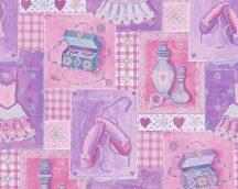 Hercegnő kellékei pink rózsaszín kék fehér ezüst csillogás tapéta