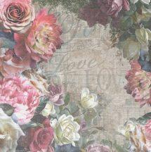 BN Riviera Maison 2, 30609 rusztikus natur virágos rózsák zöld rózsaszín szines falpanel