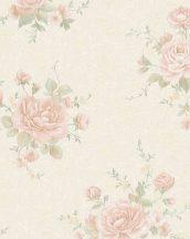 Marburg Home Classic Belvedere 30613  klasszikus rózsás virágminta krém bézs rózsaszín zöld fénylő felület tapéta