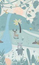 BN #Smalltalk 30801 erdei Állatok kék  rózsaszín zöld falpanel
