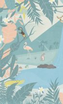 BN #Smalltalk 30801 b erdei Állatok kés rózsaszín zöld falpanel