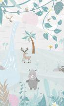 BN #Smalltalk 30802  erdei Állatok fehér kék barack  falpanel
