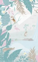 BN #Smalltalk 30802 b  erdei Állatok fehér kék barack  falpanel