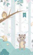 BN #Smalltalk 30810  erdei állatok fehér szürke halványzöld falpanel