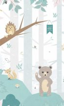 BN #Smalltalk 30810  b erdei állatok fehér szürke halványzöld falpanel