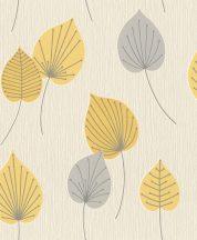 Rasch Sofia 308259 Natur Nagyformátumú aksztrakt levelek krém szürke mustársárga fémes ezüst csillámló hatás tapéta