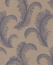 Rasch Sofia 310313  Natur elegáns tollmintázat pontokkal kialakítva barna kék ezüst csillámló tapéta