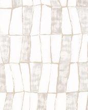 """Marburg Silk Road 31220 Etno absztrakt stilizált """"afrikai"""" szövet krémfehér szürkésbézs bézsarany fémes hatás tapéta"""