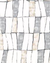 """Marburg Silk Road 31221 Etno absztrakt stilizált """"afrikai"""" szövet krémfehér bézsarany szürke sötét ezüstszürke fémes hatás tapéta"""