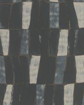 """Marburg Silk Road 31222  Etno absztrakt stilizált """"afrikai"""" szövet fekete kékes ezüstszürke bézs bronz fémes hatás tapéta"""