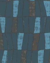 """Marburg Silk Road 31224  Etno absztrakt stilizált """"afrikai"""" szövet világos és petrolkék bronz fémes hatás tapéta"""